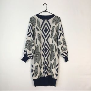 Vintage Sweater Dress White Navy Blue Patterned M